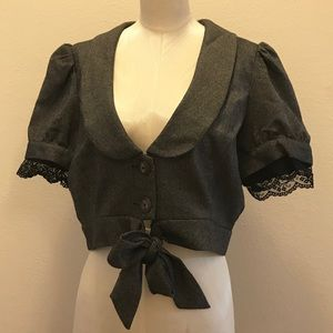 Cropped Menswear Jacket with Tie & Lace Detail